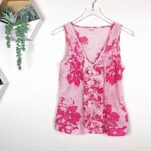 Anthro | Leifsdottir pink floral silk blend tank